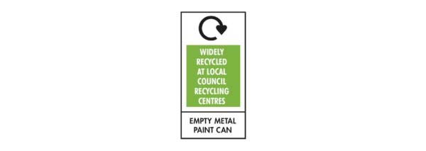 Recycling symbols - empty metal paint can