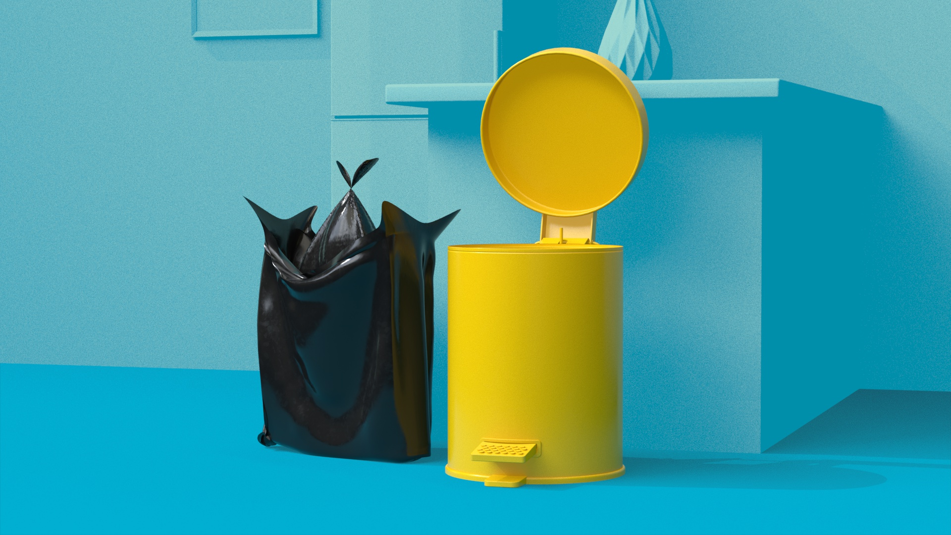 image of yellow bin on blue background black bin bag