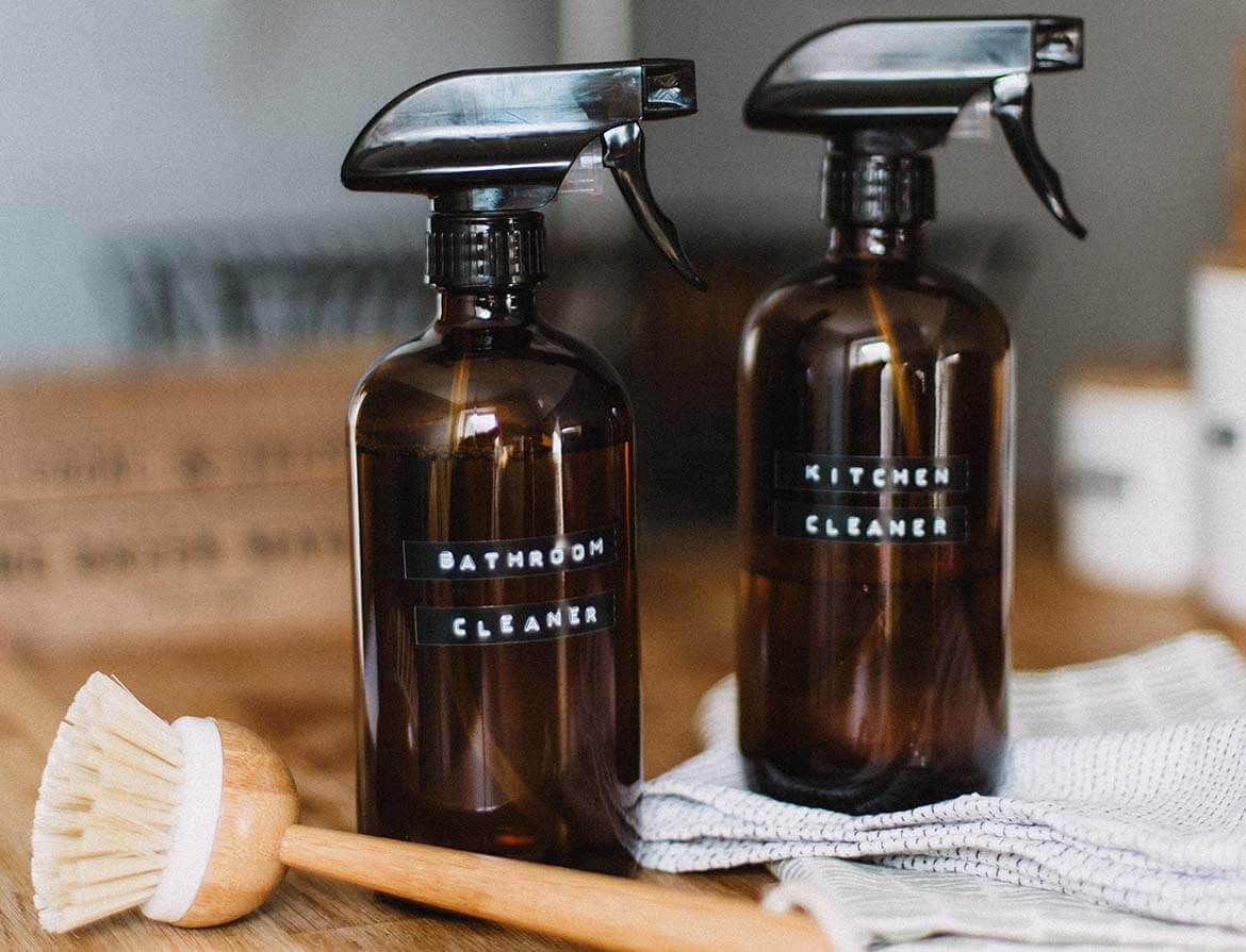 Homemade cleaning products bottles