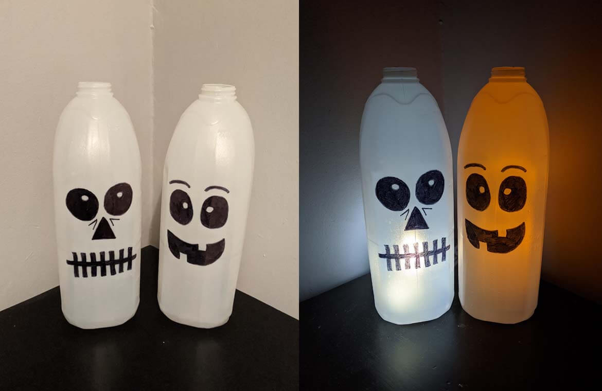 Halloween monsters made from milk bottles - alternative to pumpkins