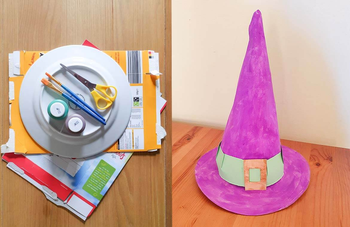 Witch hat made from cardboard